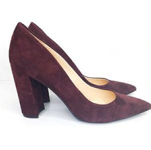 Nine West Maroon Velvet Heels Pumps  Shoes NEW